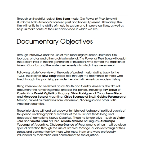 documentary film proposal template