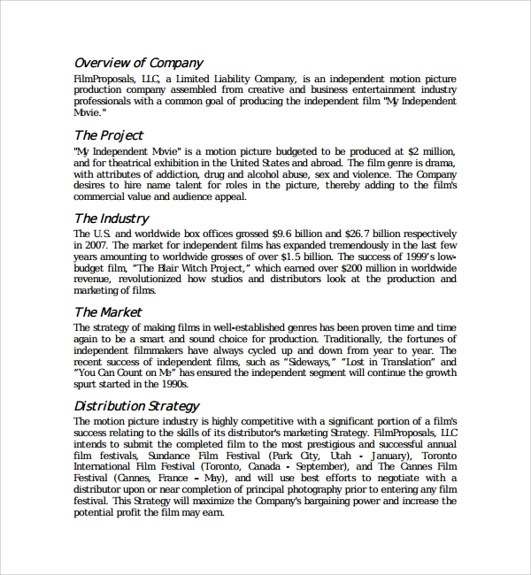 Sample Film Proposal Template   Free Documents In Pdf Word