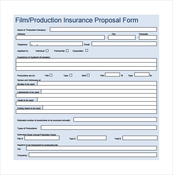 film production insurance proposal form