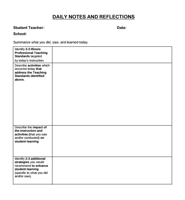 Sample Daily Note Template   Free Documents In Pdf Word