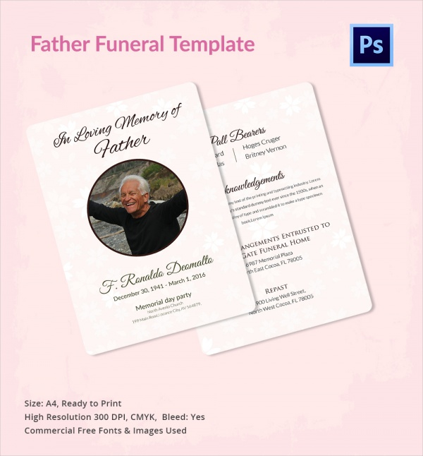 Superb Sample Father Funeral Program Template