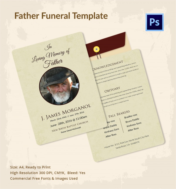 printable father funeral template
