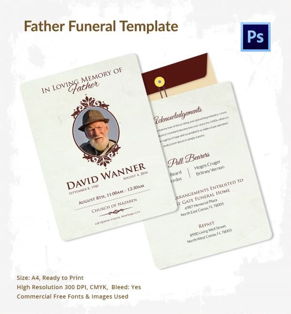 simple father funeral program template