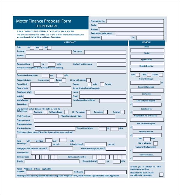 Sample Financial Proposal Template 8 Free Documents in PDF Word – Proposal Form Template