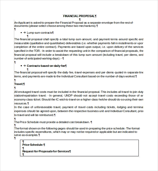 Sample Financial Proposal Template   Free Documents In Pdf Word