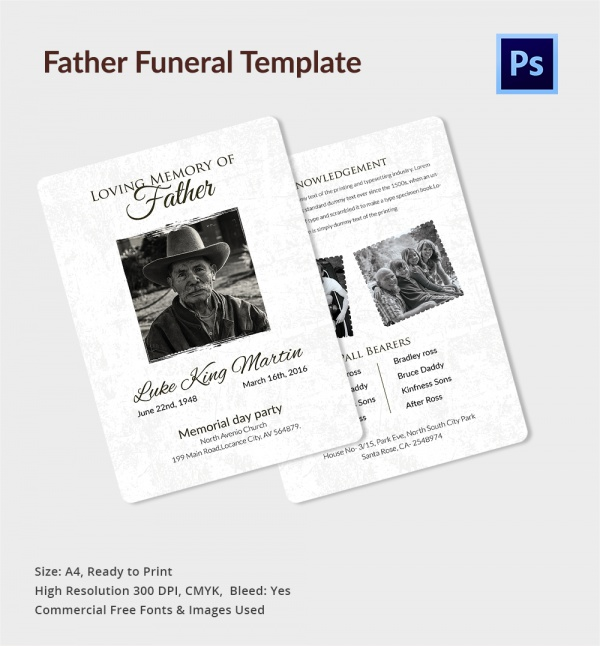 Sample Father Funeral Program   Documents In Pdf Psd Word