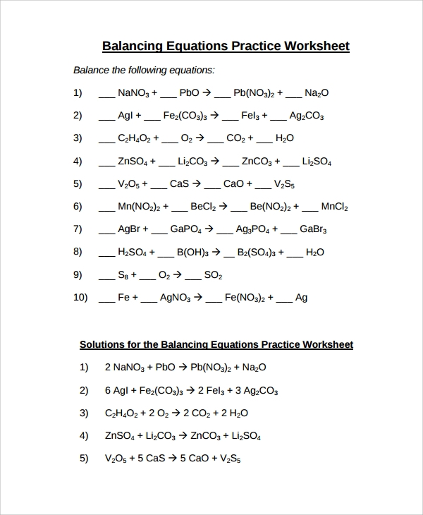 Sample Balancing Equations Worksheet Templates 9 Free Documents – Balancing Equations Worksheet with Answers