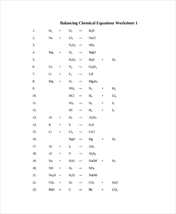 Sample Balancing Equations Worksheet Templates 9 Free Documents – Balancing Chemical Equations Worksheet 1 Answers