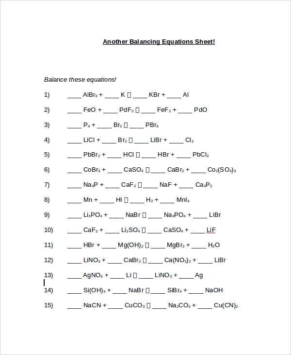 Sample Balancing Equations Worksheet Templates 9 Free Documents – Balancing Chemical Equations Worksheet 3