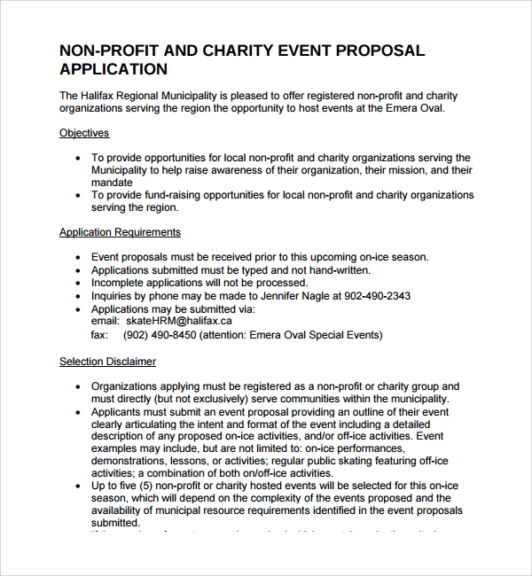 Sample Non Profit Proposal Template 7 Free Documents in PDF – Event Proposal Format