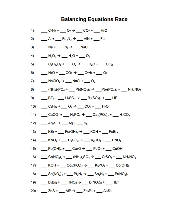 Printables Balancing Equations Practice Worksheet sample balancing equations worksheet templates 9 free documents race worksheet