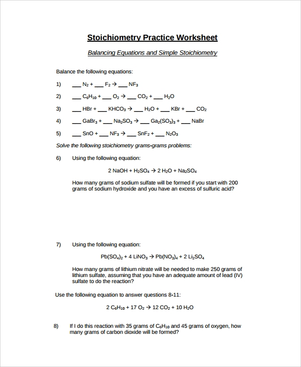 Sample Balancing Equations Worksheet Templates 9 Free Documents – Stoichiometry Worksheet Answers