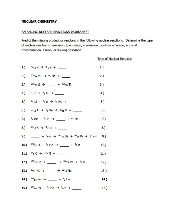 Nuclear Decay Worksheet Answers Chemistry 007 - Nuclear Decay Worksheet Answers Chemistry