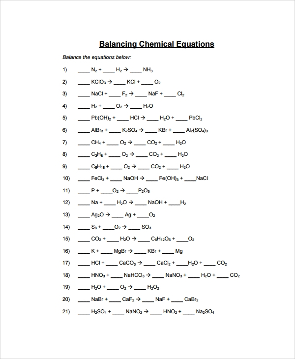 Printables Balancing Equations Worksheet sample balancing equations worksheet templates 9 free documents simple worksheet