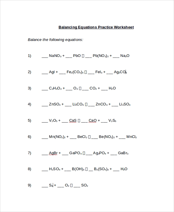 Perfect Balancing Equations Example Worksheet