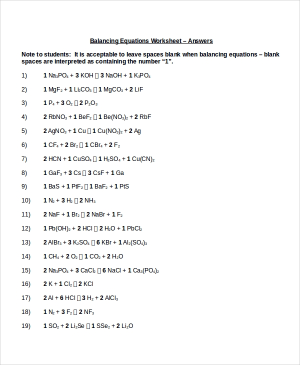 Sample Balancing Equations Worksheet Templates 9 Free Doents