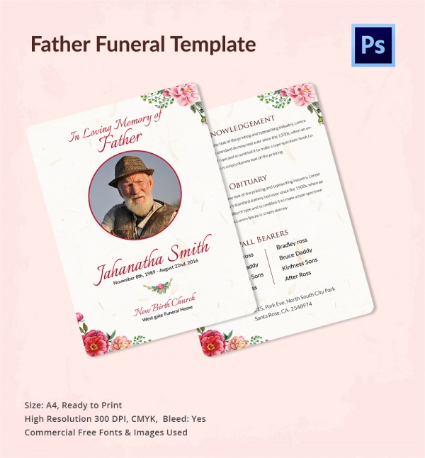 editable father funeral program template