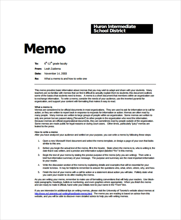 Sample Formal Memo Template 7 Free Documents Download in Word PDF – Memo Format Template