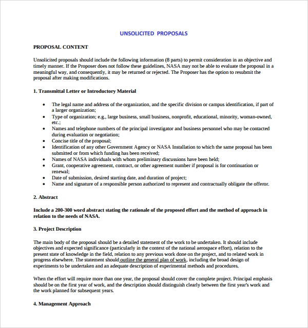 Sample Unsolicited Proposal Template 9 Free Documents