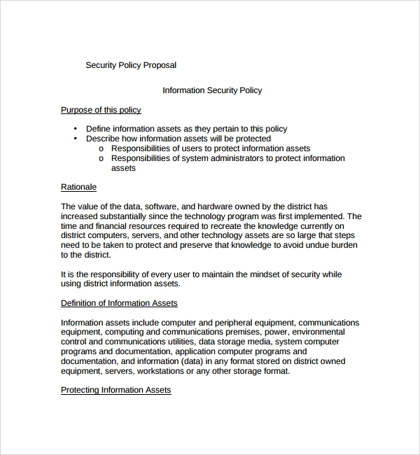 Sample Policy Proposal Template 9 Free Documents in PDF – It Security Policy Template