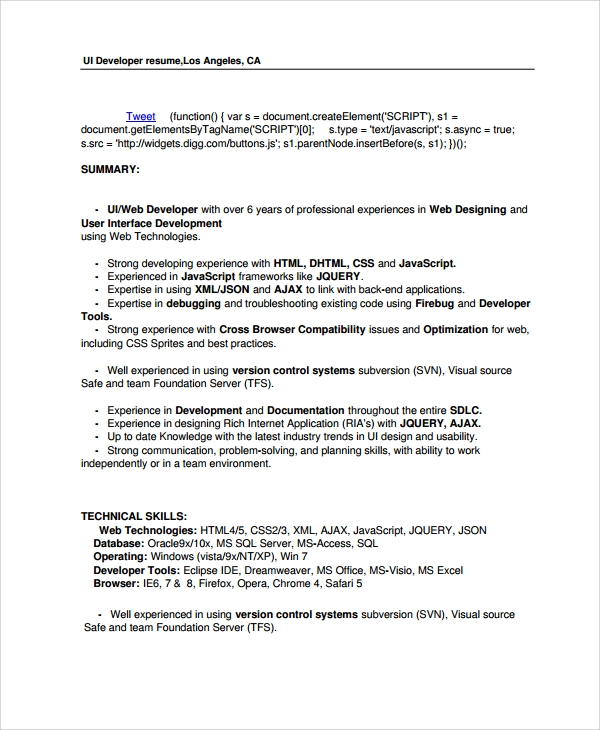 web ui developer resume