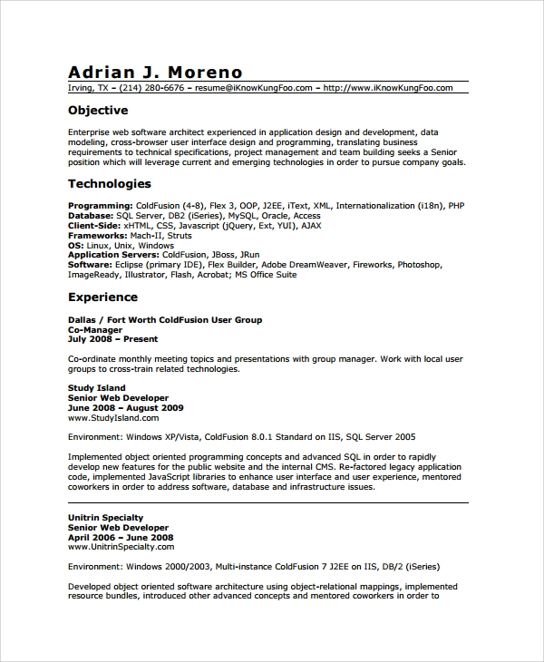 Web Developer Resume Templates