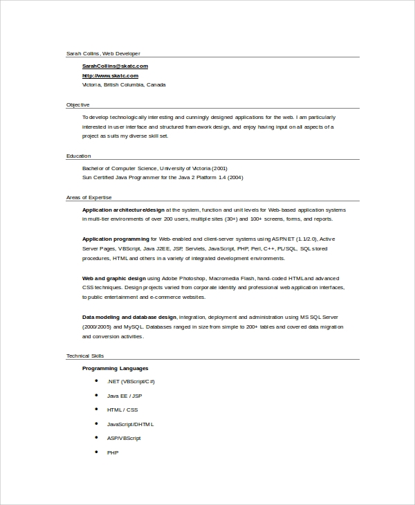 web application architect resume