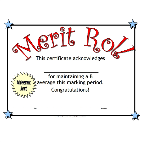 Merit Roll Certificate Template Design Ideas