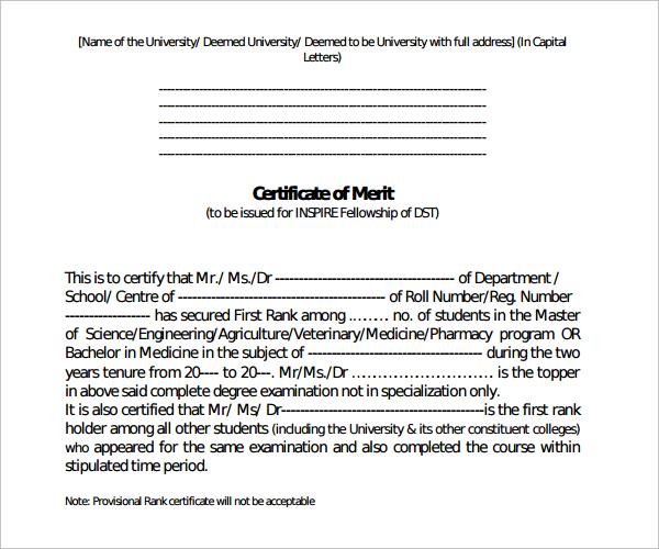 simple merit certificate template