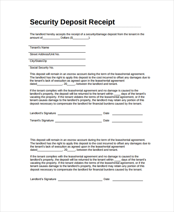 Sample Security Deposit Receipt 8 Free Documents Download in – Tenant Receipt