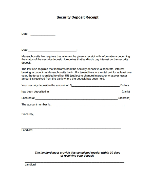 Sample Security Deposit Receipt   Free Documents Download In
