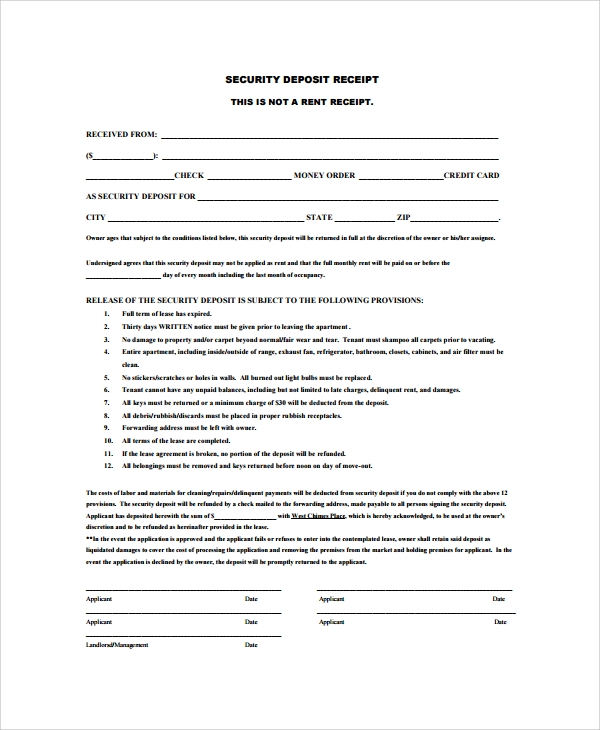printable security deposit receipt