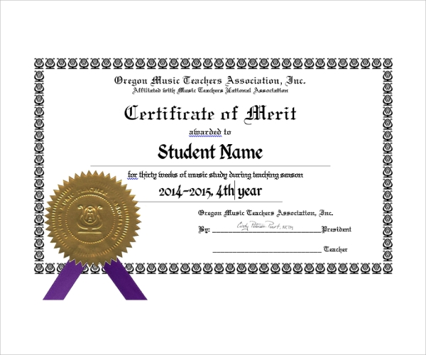 Sample Merit Certificate Template   Free Documents In Pdf