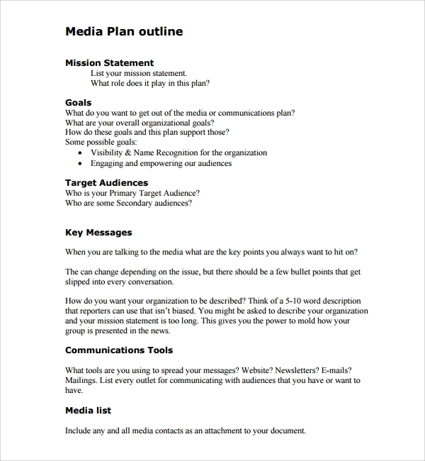Sample Media Plan Template   Documents In Pdf