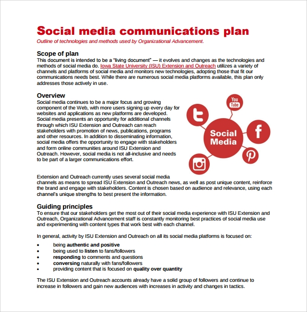 social media communication plan template 7 media plan templates sample templates