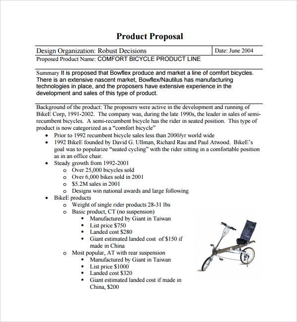 Sample Product Proposal Template   Free Documents In Pdf Word