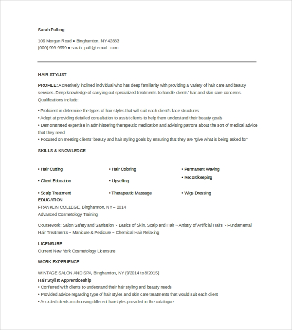 Sample Hair Stylist Cover Letter