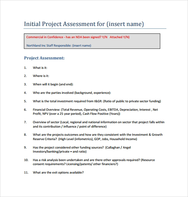 Sample Project Assessment Template   Free Documents In Pdf Word