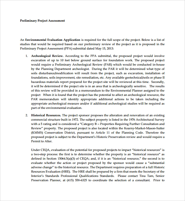 preliminary project assessment template