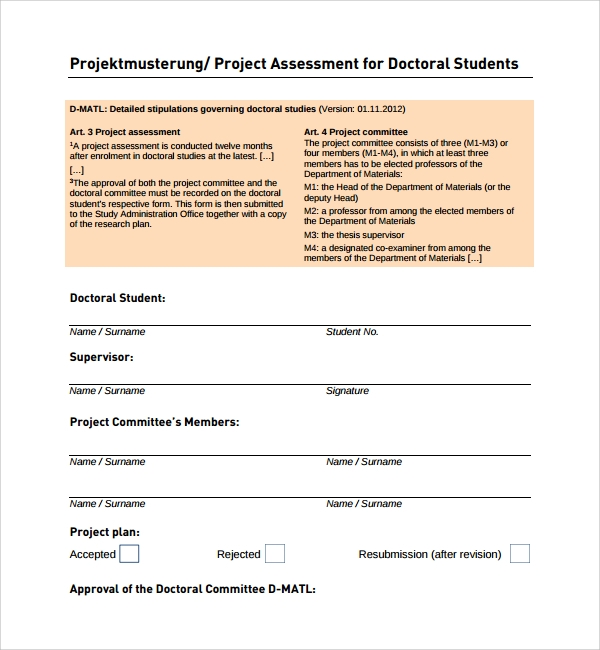 project assessment for student