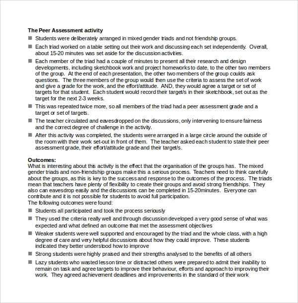 project assessment template doc