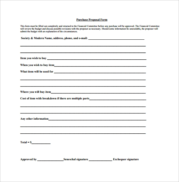 Proposal Form Template. Find This Pin And More On Forms And