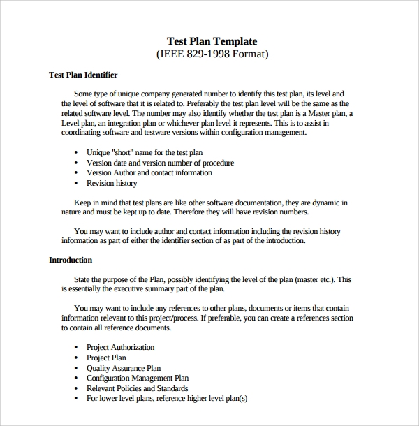 9 software test plan templates sample templates for Software testing document template