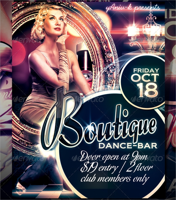 botique bar flyer