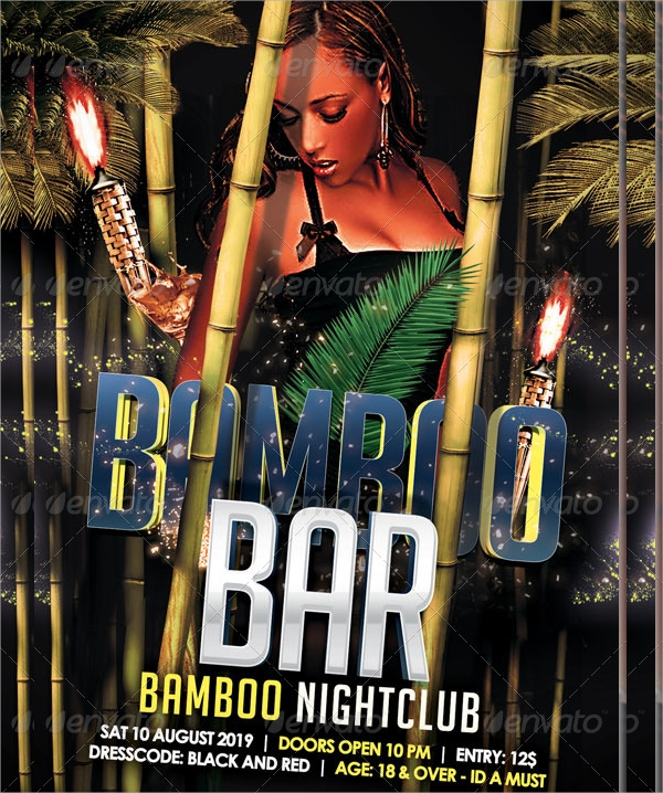 bamboo bar flyer template