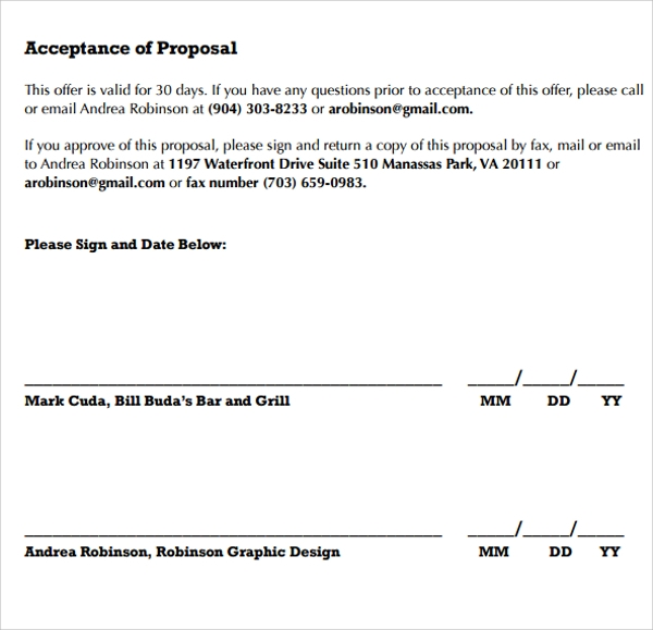 Interior Design Acceptance Of Proposal Template