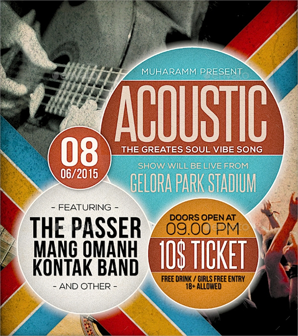 acoustic retro flyer template
