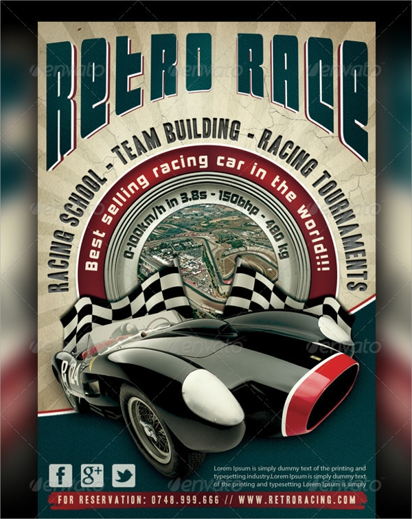 auto retro flyer template