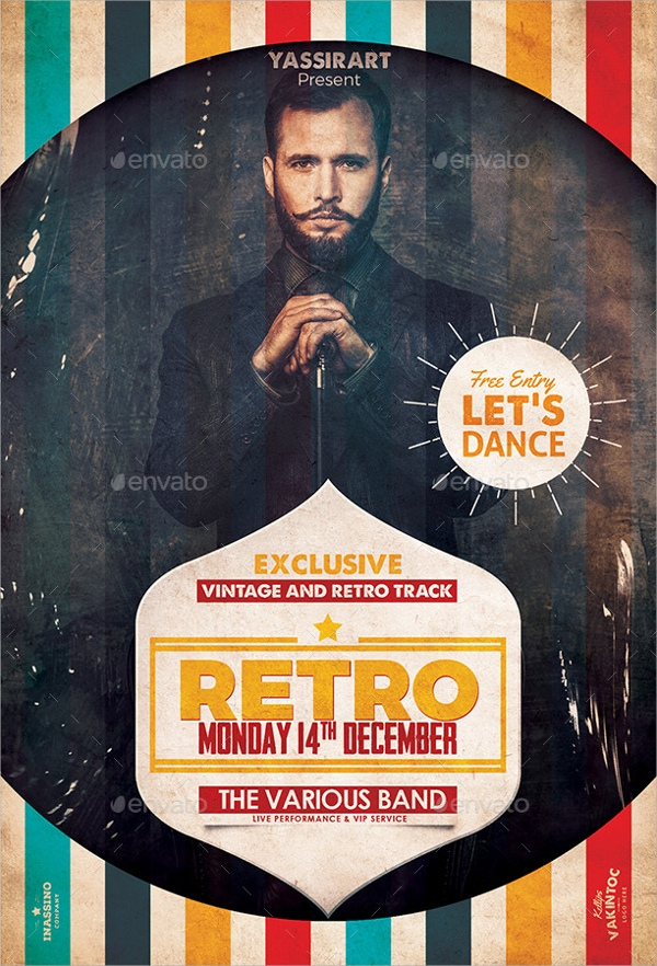 psd file retro flyer template