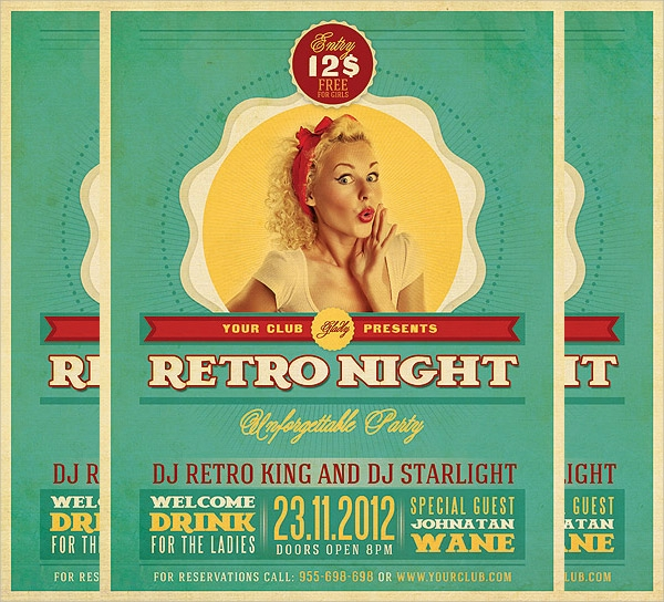 wonderful retro flyer template